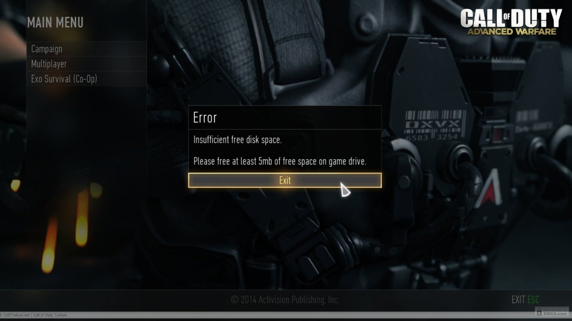 Call Of Duty Advanced Warfare Free Disk Space Error Tam Çözüm